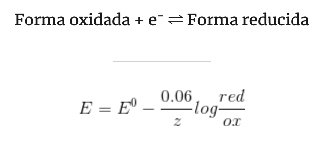 reacciones redox ecuacion de Nerst